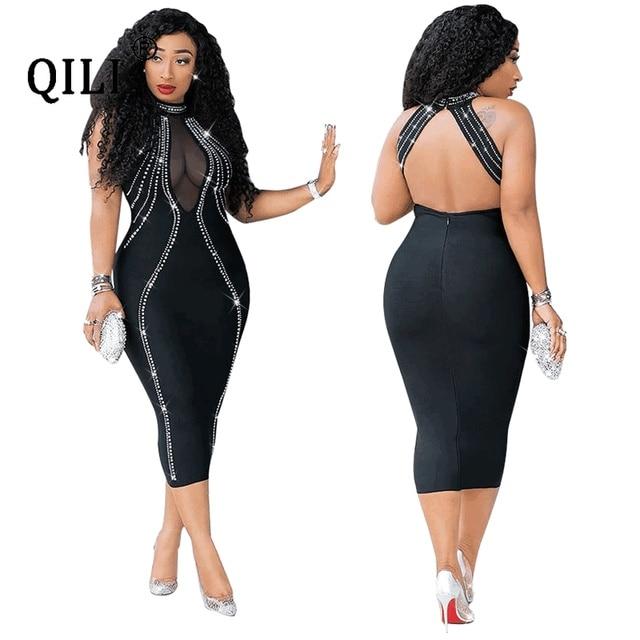 QILI Women Sexy Party Dress Sleeveless Backless Diamonds Rhinestone Dresses Black See Through Mesh Bodycon Dress Femme S-5XL