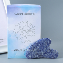 Natural Sodalite Facial gua sha Stone Crystal Jade Scraping Massage Tool SPA Acupuncture Back Foot Head Massager Gift Box