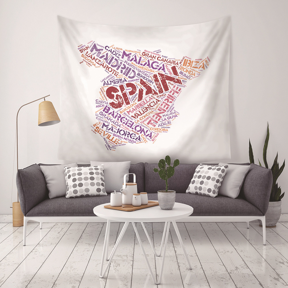 New Personalized Foreign Letter Map Spanish Map Tapestry