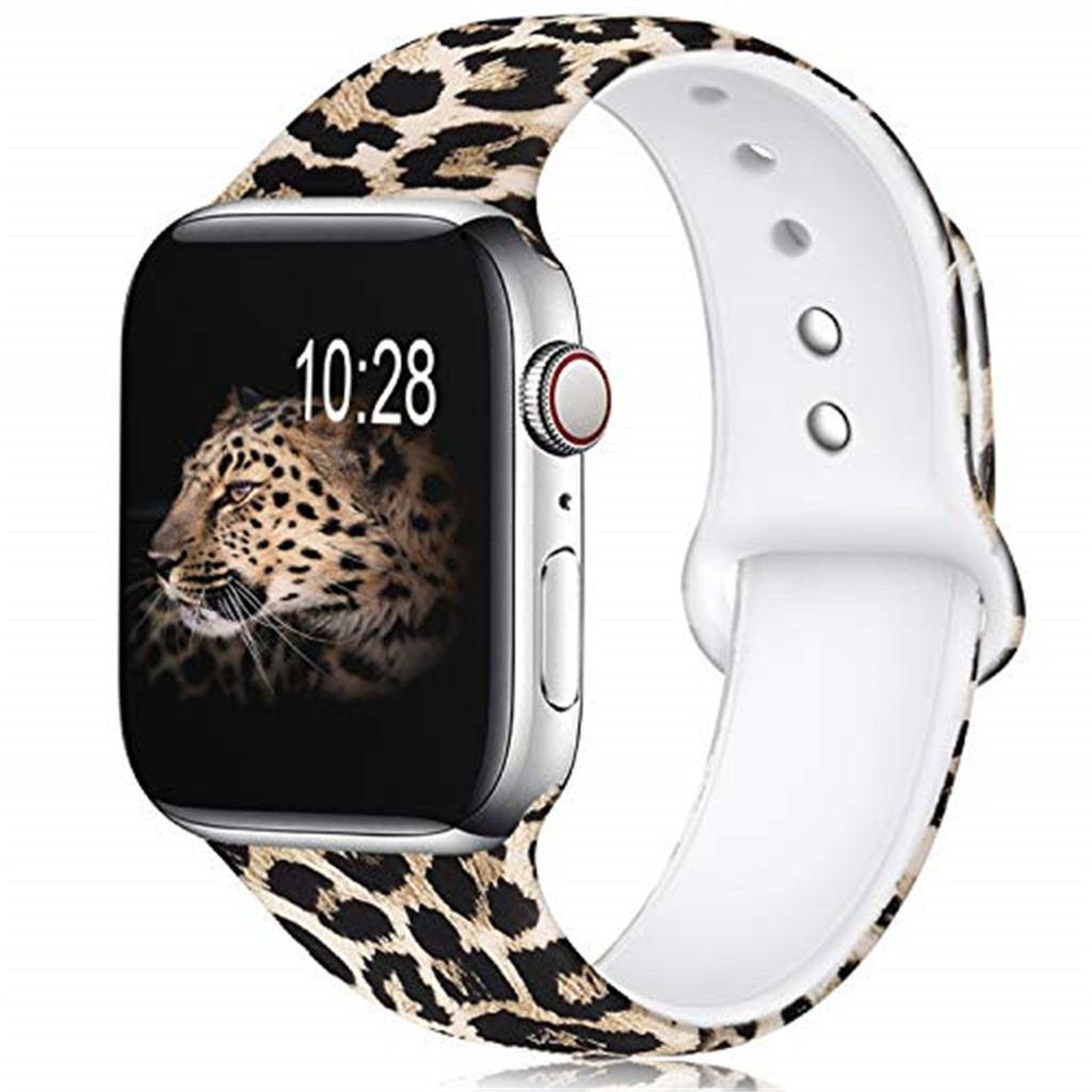 Yayuu Cheetah Pattern Printed Sport Silicone Bands For Apple Wacth Series 4/3/2/1 Compatible Strap Fadeless Replacement Band
