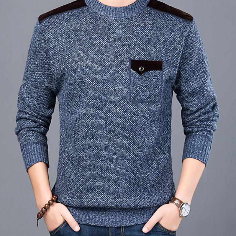 Sweater Jumpers Mens Pullovers Korean-Style Clothing Knitwear Slim-Fit O-Neck Male Casual