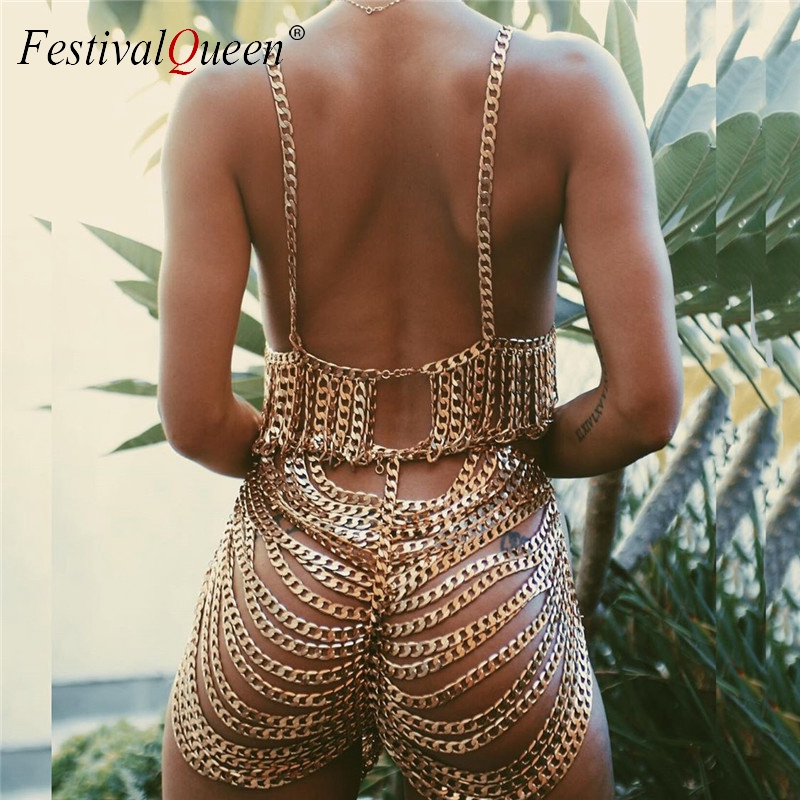 Gothic Body Chain Two Piece Set Crop Tops and Shorts Handmade Metal Chain Punk 2 Piece Set for Women Rave Costume