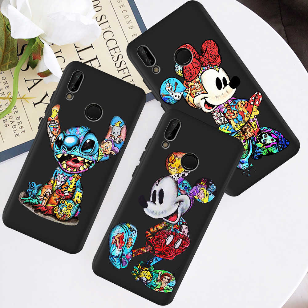 Kartun Marvel Stitch Minnie Mouse untuk Huawei P8 P10 P20 P30 Mate 10 20 Honor 8 8X 8C 9 10 V20 Lite Plus Pro Tritone