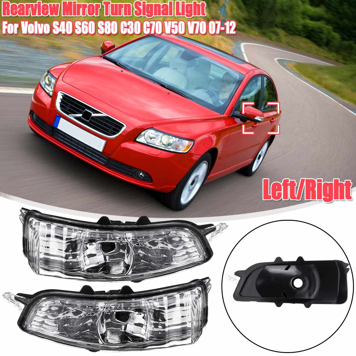 Turn Signal <font><b>Lights</b></font> 2007-2012 Turn Signals Rearview Mirror Indicators Side Mirror Blinkers for <font><b>Volvo</b></font> <font><b>S40</b></font> S60 S80 C30 C70 V50 V70 image