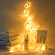 LED Metal Hollow Moon shape LED String lights Holiday lighting Fairy Garland For Christmas Tree Wedding Party Ramadan Decor 7P(China)