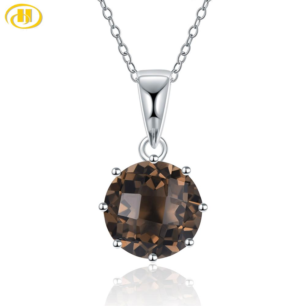 Hutang Checkered Cutting Smoky Quartz 925 Silver Pendant Genuine Brown Gemstone Sterling Silver Chain Fine Elegant Jewelry Gift
