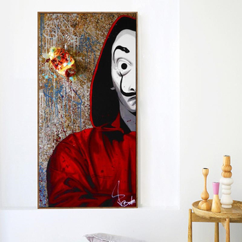 La Casa De Papel Graffiti Mask Man TV Series Poster And Prints Canvas Painting Art On Wall Decor Movie Picture For Living Room image