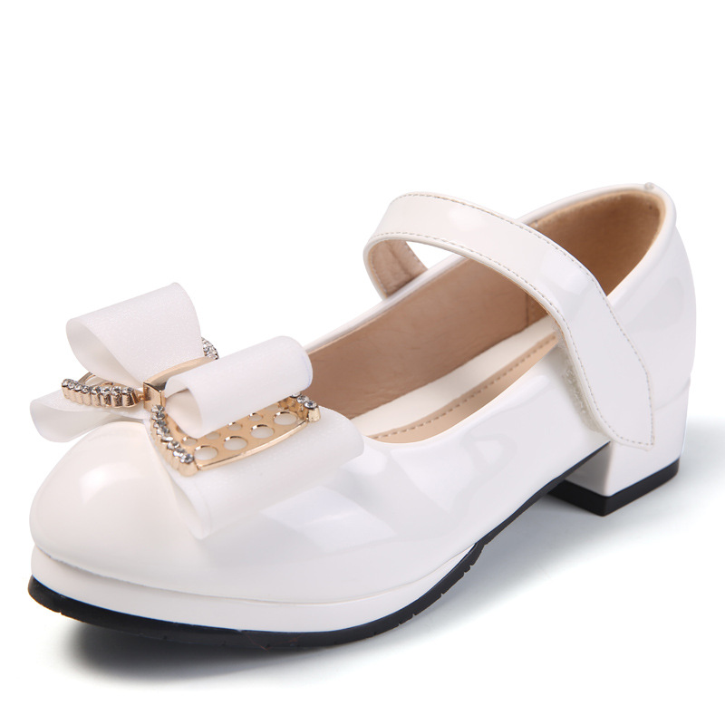 Bow Princess White Leather Shoes Big Kids Little Girls Dress Party High Heels Wedding Children Shoes 3 4 5 6 7 8 9 10 11 12 13|Leather Shoes| |  - title=