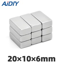 AI DIY 2/5/20Pcs 20x10x6mm N35 Strong Block Neodymium Magnet Permanent Small Super Powerful Magnets Rectangular 20 * 10 6mm