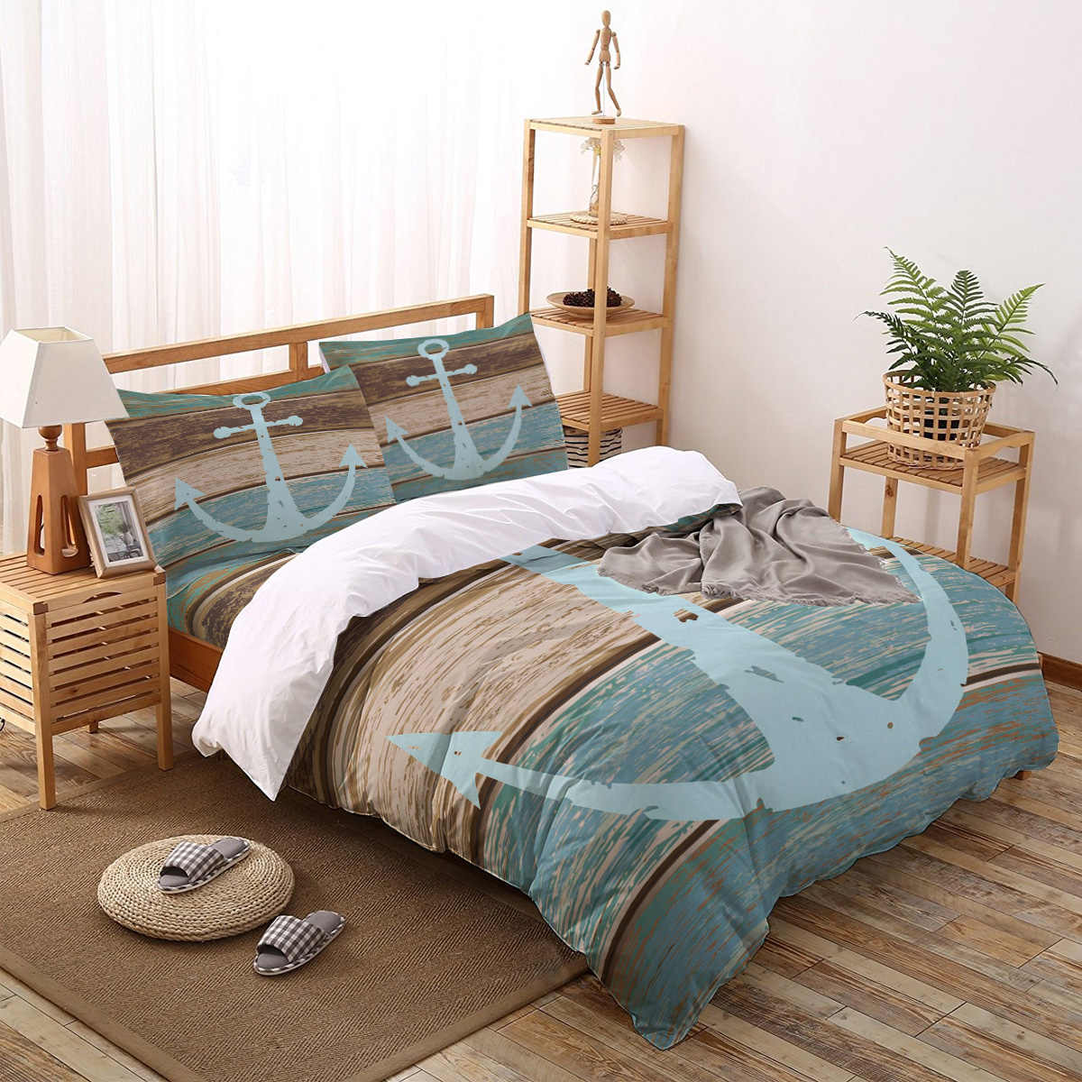 Vintage Anchor Wood Grain Polyester Fabric Comforter Sets Christmas Day Living Room Childrens Turquoise Bedroom Toddler Flower