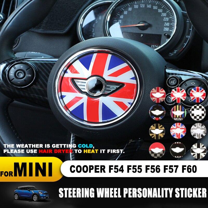 For MINI COOPER F54 F55 F56 F57 F60 Countryman Clubman Steering Wheel 3D Dedicated Car Sticker Decal Cover Trim Accessories Skin