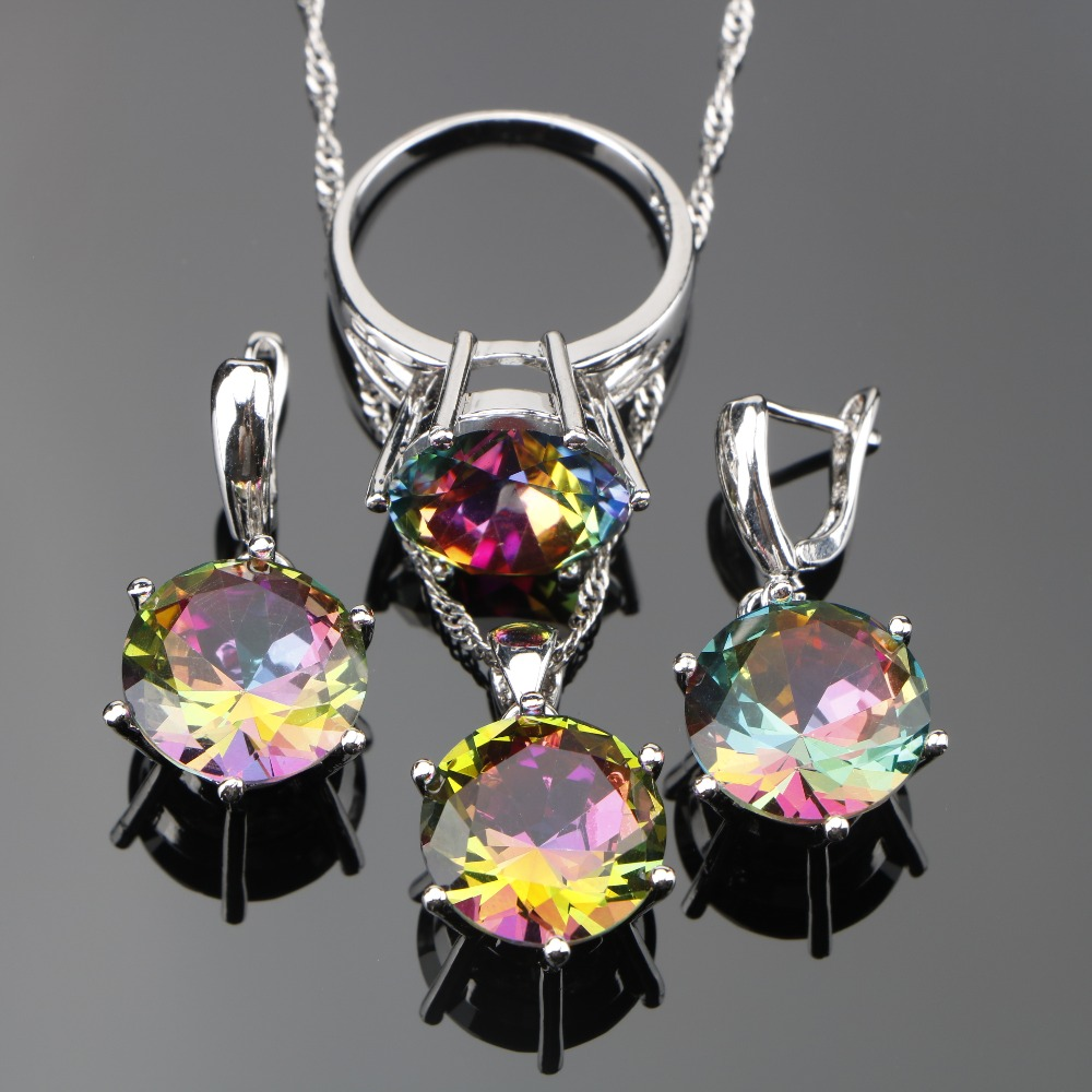 3PCS Ladies Magic Rainbow Stones <font><b>Jewelry</b></font> <font><b>Sets</b></font> <font><b>Silver</b></font> <font><b>925</b></font> <font><b>Jewelry</b></font> For Women Wedding <font><b>Jewelry</b></font> With Pendant/Necklace/Ring/Earrings image