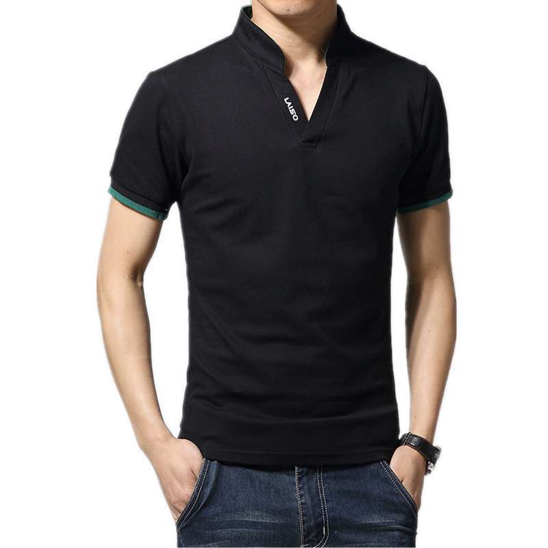 Men's Cotton Shirts, Garments, Clothing Brands, Large Sleeves, Short Sleeves, Black and White   Polo   Shirts, Men's Shirts, 2019