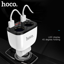 HOCO 3.1A Dual USB Car Charger LED Display 160W 2 Lighter Socket Fast Charge Car Charger Splitter Plug Power Adapter for Phone