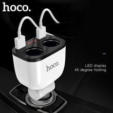 HOCO 3.1A المزدوج USB شاحن سيارة LED عرض 160 واط 2 أخف المقبس سريع تهمة شاحن سيارة الفاصل التوصيل محول الطاقة للهاتف