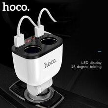 HOCO cargador USB Dual 3.1A para coche, pantalla LED de 160W, 2 enchufes más ligeros, separador cargador de coche, adaptador de corriente para teléfono