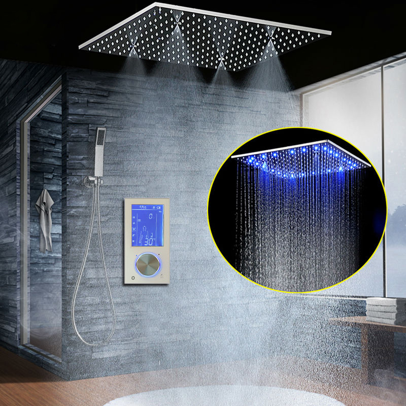 LED Concealed Rainfall Shower European-style Thermostatic Intelligent Digital Display Rain Shower Set Wall-mounted MassageShower