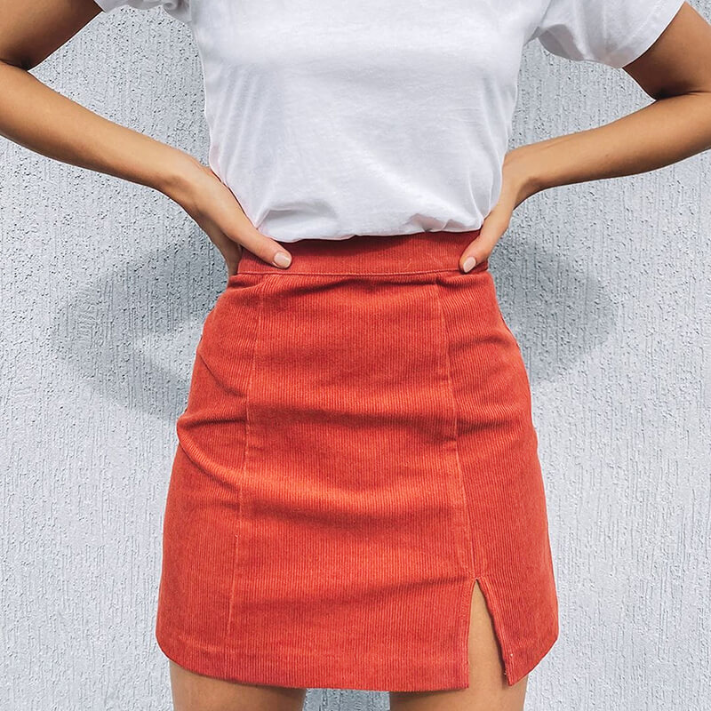 Vintage Corduroy Skirt Women Summer Sexy Harajuku Mini With Slit Skirts Ladies Leather Straight Suede Zip Skirt Slim Hip 2020