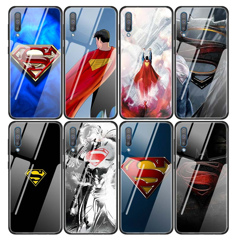 Glass <font><b>Case</b></font> Coque for <font><b>Samsung</b></font> <font><b>Galaxy</b></font> A50 A51 A70 A71 A10 A20 <font><b>A30</b></font> A31 A41 A91 A01 A11 Cover Capa <font><b>Marvel</b></font> superman <font><b>Logo</b></font> image