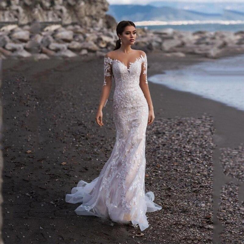 Smileven Mermaid Wedding Dress Long Sleeves Boho Bridal Gowns Lace Appliques Robe De Soriee Turkey Wedding Gowns