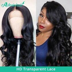 Asteria-pelucas de encaje ondulado transparente 5x5 HD para mujeres negras, prearrancadas, encaje brasileño, 150 de densidad, cabello Remy
