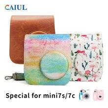 חדש מיני מצלמה רצועת כתף שקיות מקרה פאוץ סוכריות צבעים עור לפוג י Fujifilm Instax Mini7s mini7c לנשים מתנות