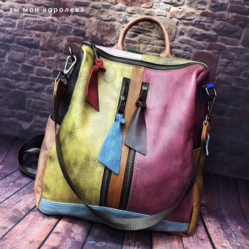 Genuine Leather Women Backpack Casual High Quality Female Natural Leather Knapsack Female Vintage Big Capacity Retro Packsack europe and the retro style men and women backpack genuine leather knapsack casual travel bag schoolbag packsack men bags