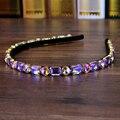Элегантная полностью Фиолетовая лента стразы для волос с кристаллами и стразами свадебная повязка для женщин головной убор для девочек юве...