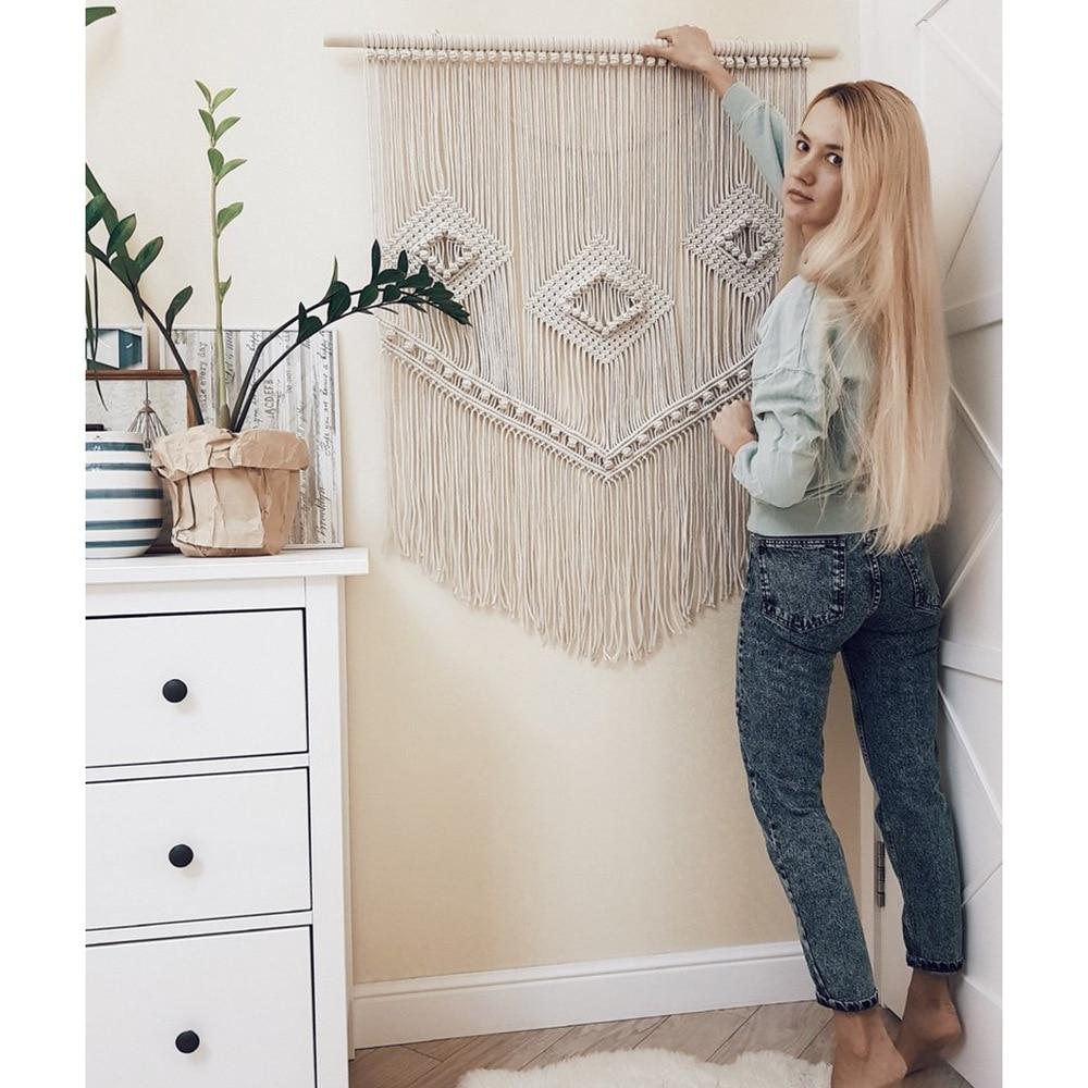 Rainbow Macrame Hand Woven Hanging Bohemian Geometric Tapestry Art Beautiful Home Living Room Decoration Pendant wall tapestry