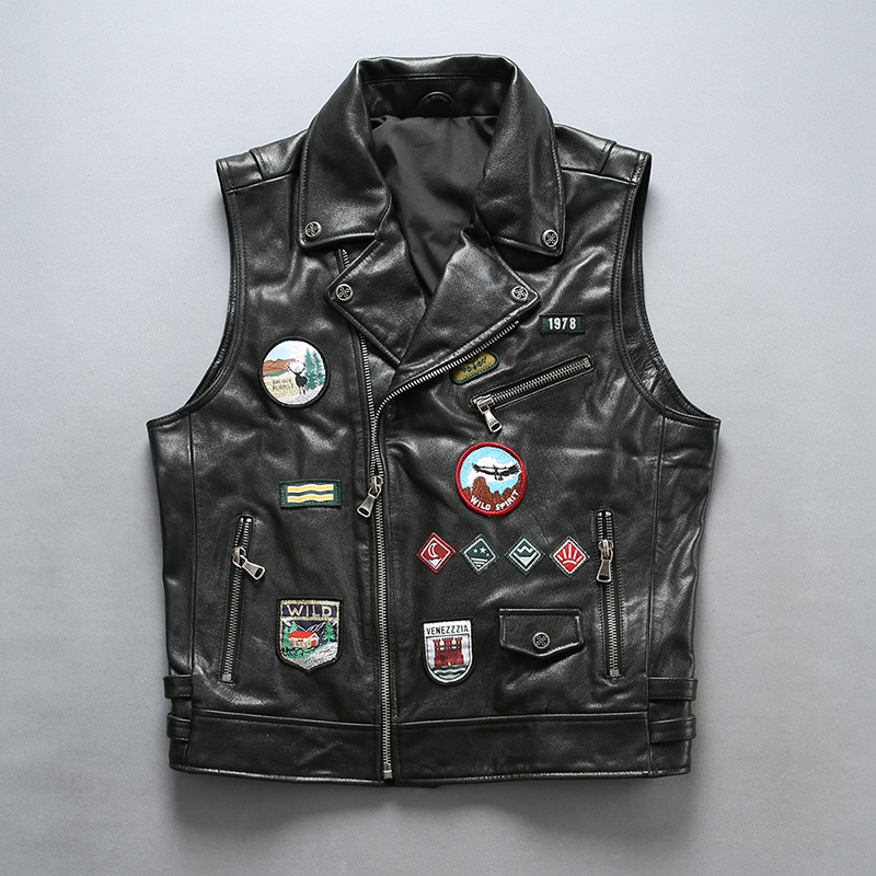 Fashion Locomotive Style Genuine Motorcycle Biker Waistcoat Cowhide Short Slim Fit Real Leather Vest