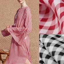 141CM Wide 100G/M Red Black Check Print Ramie Summer Spring Pants Dress Shirt Blouse Jacket Fabric DE1289(China)