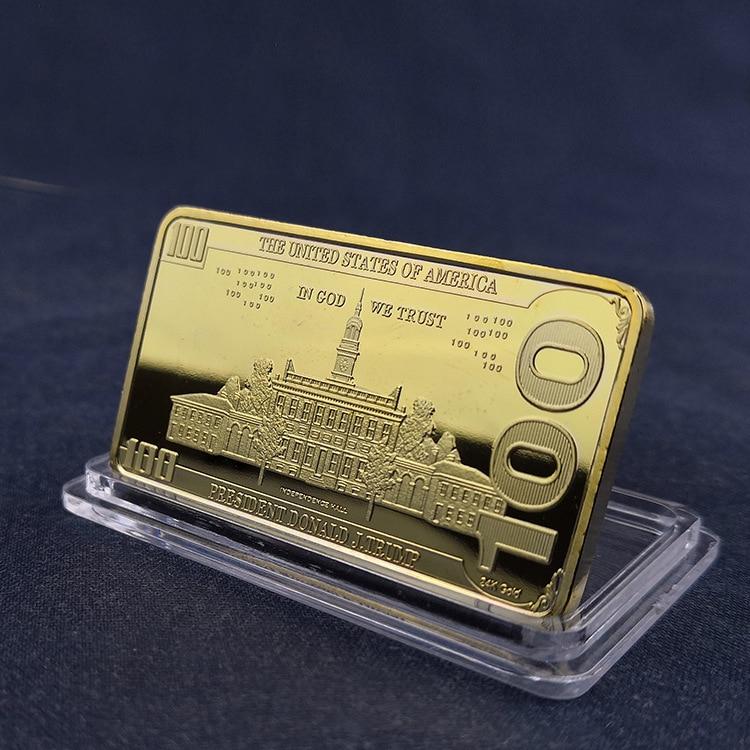 Трамп 100 долларов США Золотой бар коллекционные реплики монеты криптовалюта сувенир фестиваль подарки