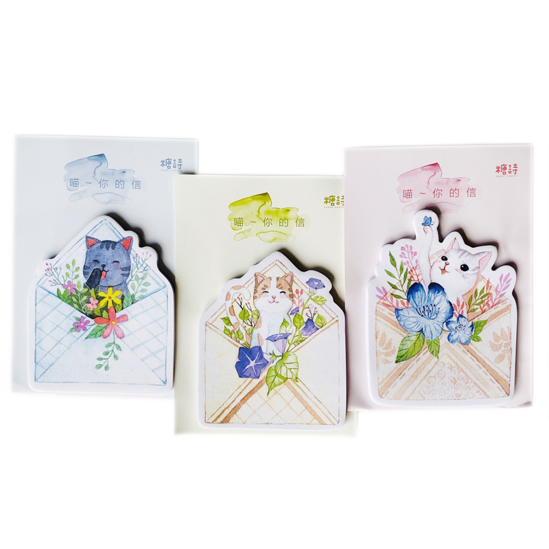 30 Sheets/Pack Romantic Letter With Cat And Flower Memo Pad Sticky Notes School Office Supply Student Stationery