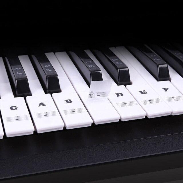 Extraíble transparente Piano teclado Pegatinas para Piano para llaves conjunto completo para 49/61/88 principiantes