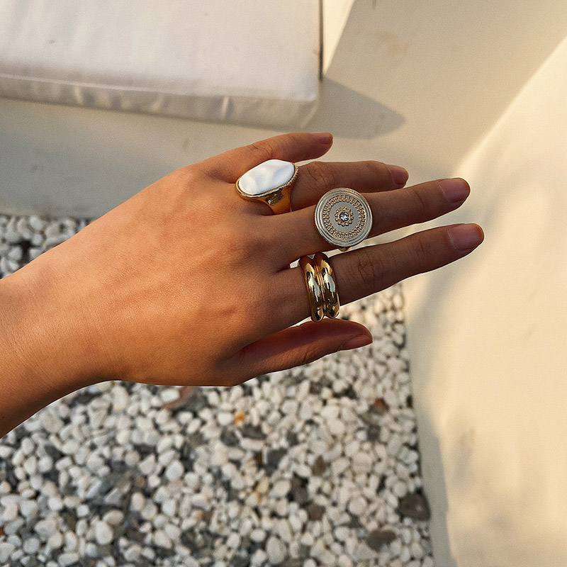 Lot of 3 Vintage Rings 3 Orange Bronze Rings Boho Style 3 Rings Set Size 7 34 US