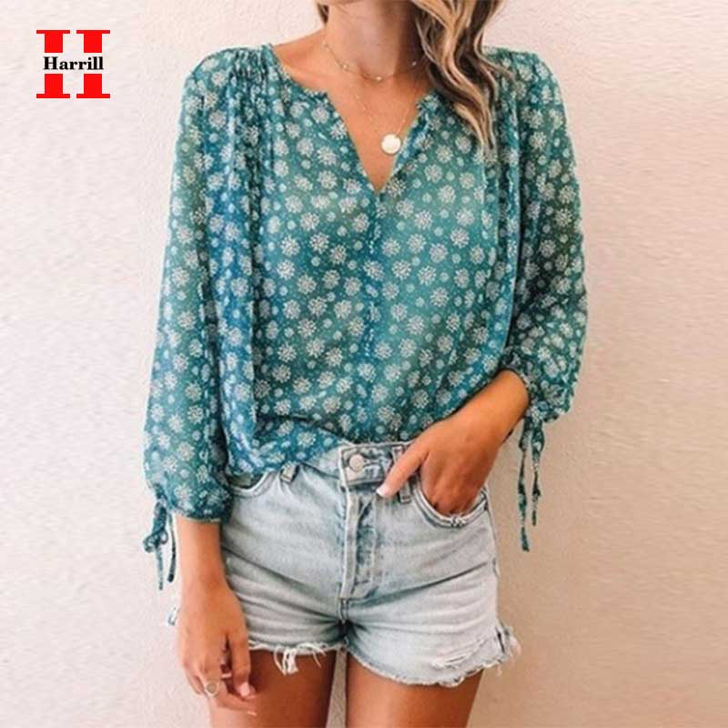 Women Chiffon Blouse Floral Print Long Sleeve Ladies Shirt Sexy Perspective Tops Womens Clothing Summer Loose Female Blouses