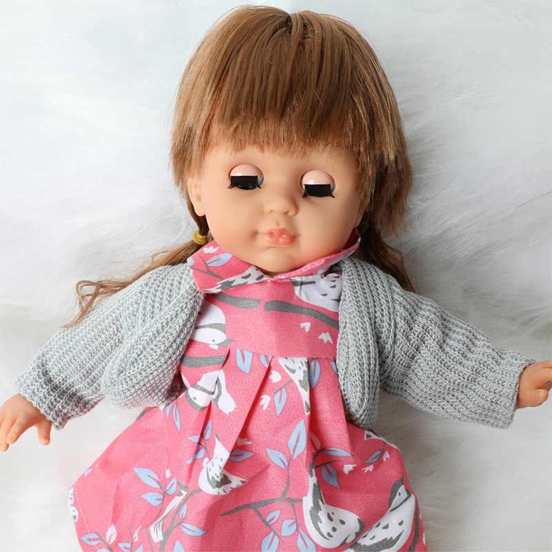 살아있는 재 탄생 된 인형 14 인치 부드러운 실리콘 긴 머리 패션 비비 아기 36cm 시뮬레이션 사운드 드레스 인형 장난감 소녀 선물
