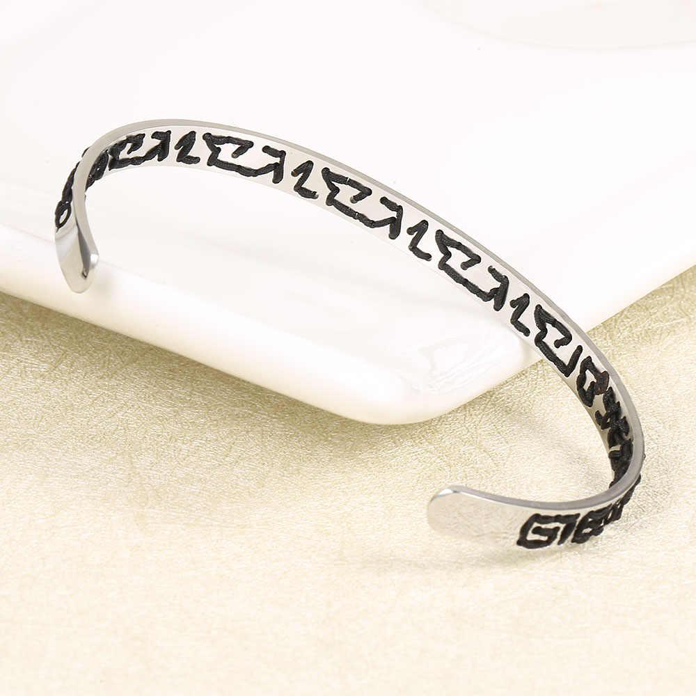 Floya czarna dzianina mankiet bransoletki ze stali nierdzewnej miłośników mody bransoletki dzianiny walentynki w stylu etnicznym Femme osobowości