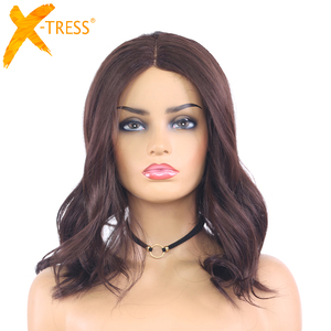 Image 1 - Medium Brown Natural Wave Synthetic Lace Part Wigs For Women X TRESS Shoulder Length Ombre Color Heat Resistant Fiber Hair Wigs