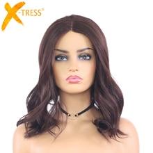 ปานกลางสีน้ำตาลธรรมชาติ WAVE ลูกไม้ส่วน Wigs สำหรับผู้หญิง X TRESS ความยาวไหล่ Ombre สีทนความร้อน Wigs Hair Wigs