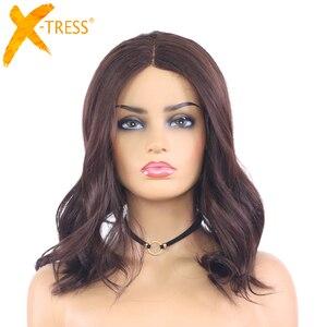 Image 1 - בינוני חום טבעי גל סינטטי תחרה חלק פאות עבור נשים X TRESS כתף אורך Ombre צבע חום עמיד סיבי שיער פאות