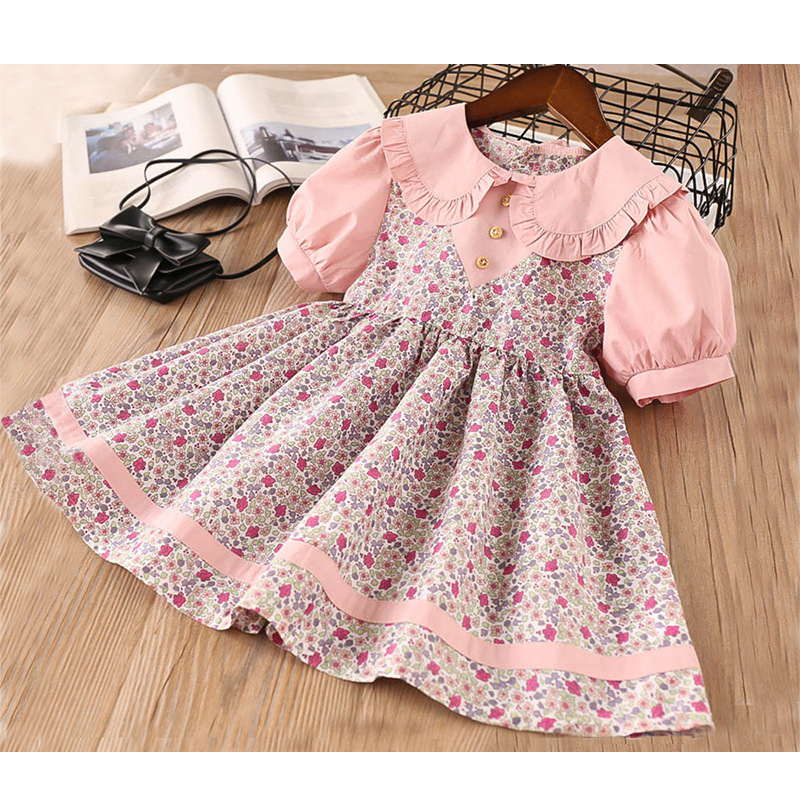 2020 Summer New Girl Dress  Sleeve Lapel Dress  Floral Lapel Party Princess Dress