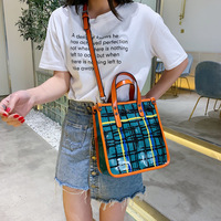 Women's new 2019 Internet celebrity personality of the same wide shoulder plaid Korean version of transparent jelly colliding