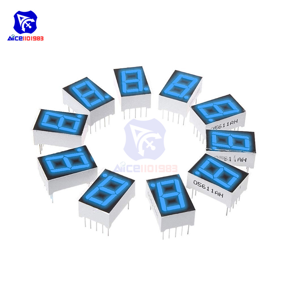 5PCS/Lot 0.56 Inch 7 Segment Blue LED Digital Display Common Anode LED Digital Tube Red For Home Appliance Car Accessories