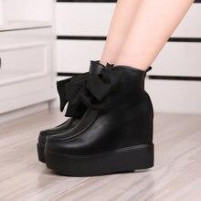 Женские кожаные ботинки на толстой подошве черные высокой платформе