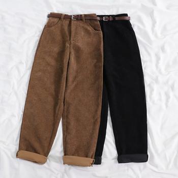 Lucyever nowy 2020 kobiet wiosna spodnie sztruksowe wysokiej talii rocznika koreańskie szerokie spodnie nogi elegancki pas luźna bawełniana Streetwear tanie i dobre opinie COTTON Pełnej długości CN (pochodzenie) Wiosna jesień 9011 Stałe Na co dzień Mieszkanie Luźne Osób w wieku 18-35 lat