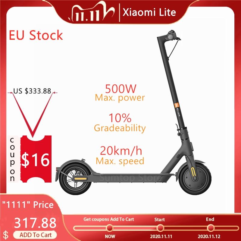 Xiaomi-patinete eléctrico Mi Lite, 20 KM/H, 250W, neumáticos de 8,5 pulgadas, 36V, Scooter plegable de dos ruedas, disponible en la ue