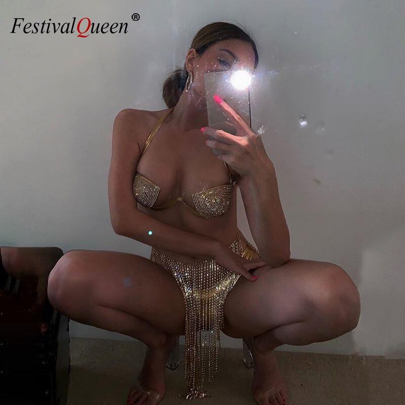 2019 Sexy Halter Swimwear Rhinestone Bikini Set Women Swimsuit Crystal Diamond Sequins Push Up Swimwear Bathing Suits Bikinis