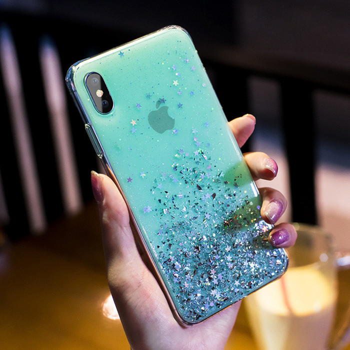 Luxury Bling Sequins Star Glitter Phone Case For iphone X XR 11 Pro XS MAX 6 6S 7 8 Plus Shining Transparent Soft TPU Cover Case