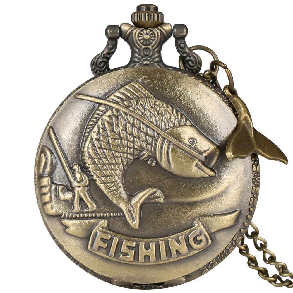 Classic Fishing Quartz Pocket Watch With Fish Tail Accessory Necklace Steampunk Clock Pendant Chain Watches Men Women's Gifts